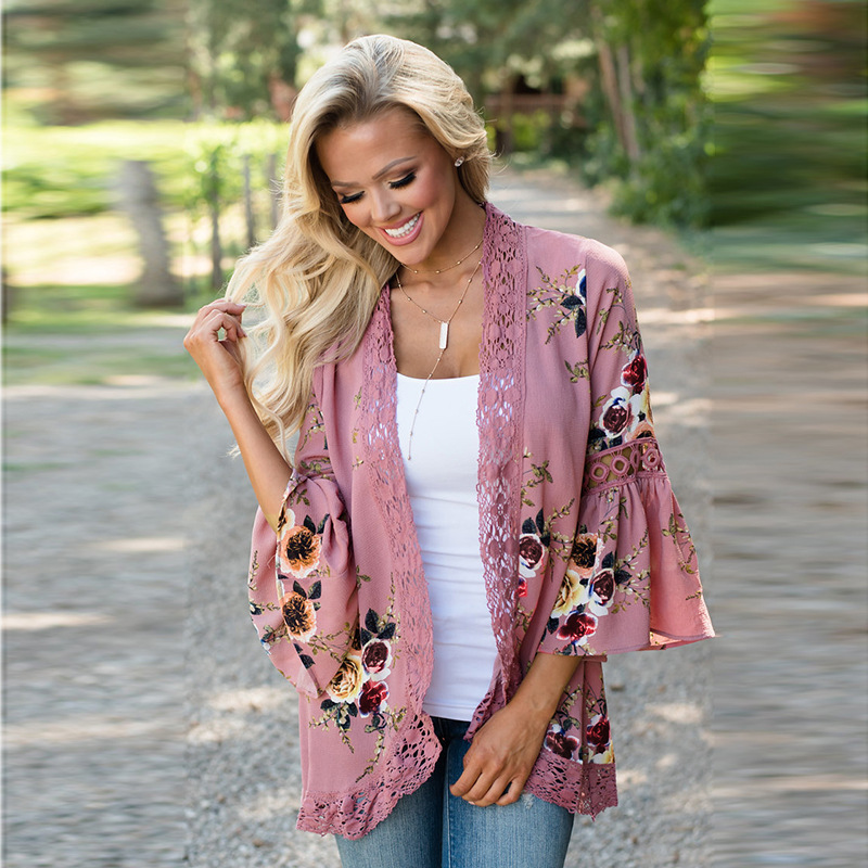 New Autumn Winter 2019 Casual Women Coat Flare Sleeve Printed Open Stitch Jacket Lace Patchwork Female Coat Loose Outerwear