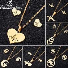 Shuangshuo Fashion Heart Pendants Necklaces Gold Chain Choker Necklace For Women Chokers collares Stainless Steel Jewelry femme shuangshuo chain necklace chokers for women deer necklaces