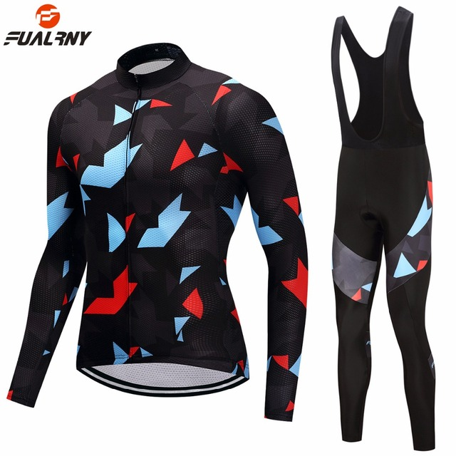 FUALRNY Pro Long Sleeve Cycling Clothing Set Thermal Fleece Warm Cycling Jerseys MTB Bike Bicycle Clothes Ropa Maillot Ciclismo