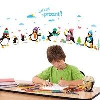 Cartoon Pinguino Wall Sticker Home Decor Camera Dei Bambini Stickers Animal Decalcomania Del Vinile Wall Art Decalcomanie Smontabile del PVC Adesivi Decorazione