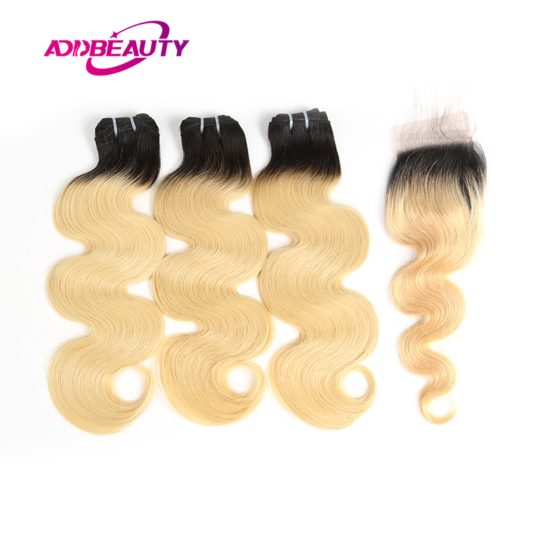 Ombre Bundles With Closure 1B/613 Honey Blonde Brazilian Body Wave Virgin Human Baby Hair Free Part 4x4 Swiss Lace Pre-Plucked