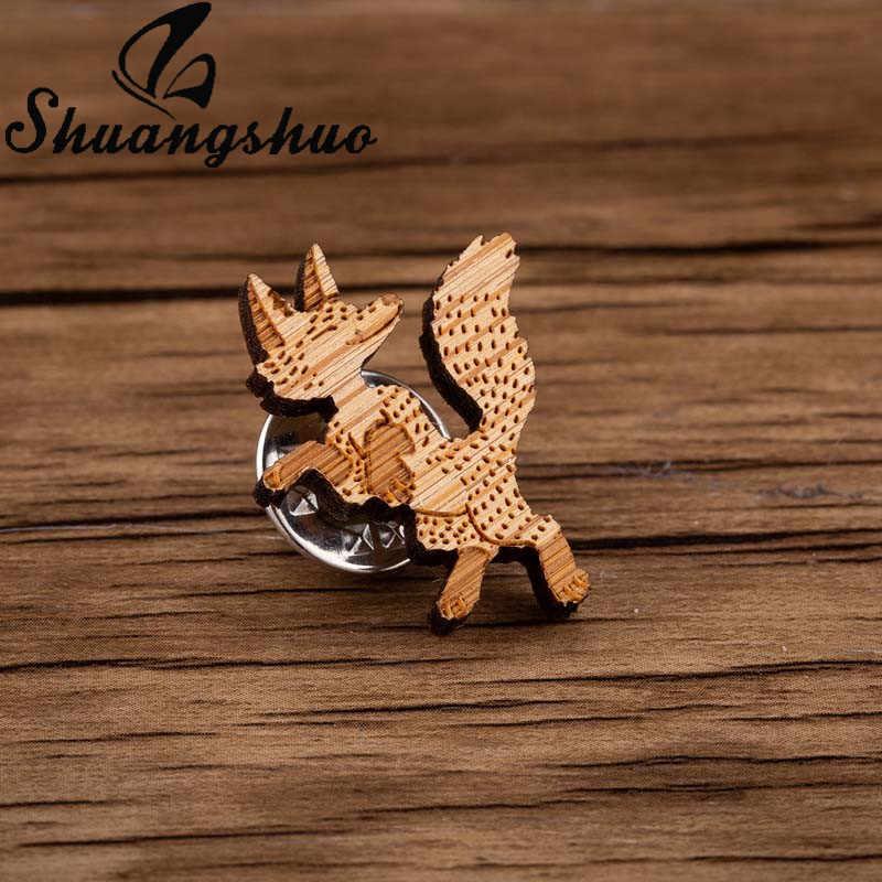 Shuangshuo Menari Fox Pin Kayu Bros Minimalis Bros Pin untuk Wanita Kerah Pin Cute Kayu Perhiasan Bros Hadiah