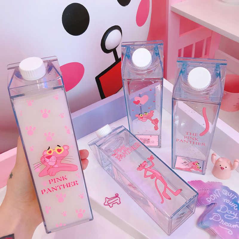 Water Plastic Storage Bottles Milk Box Shape Transparent Cute Cartoon Pink Panther Storage Beer Drink Bottle Organizer