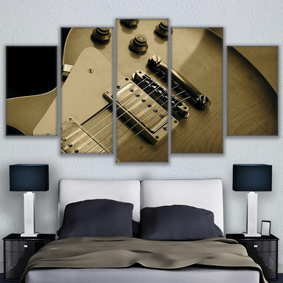 5 pieces guitar strings blues music canvas paintings living room home decor poster frame prints. Black Bedroom Furniture Sets. Home Design Ideas