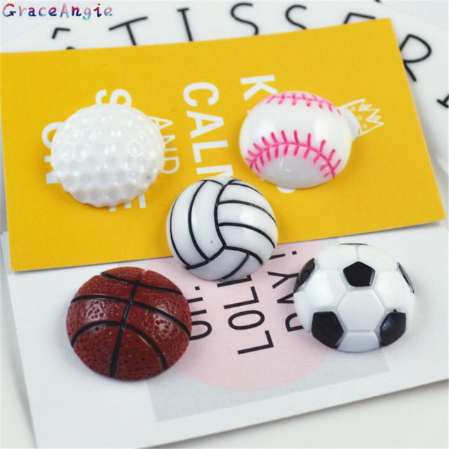 GraceAngie 10pcs Resin charms basketball shape Flat back Ball Sports accessories phone case refrigerator sticker DIY Findings