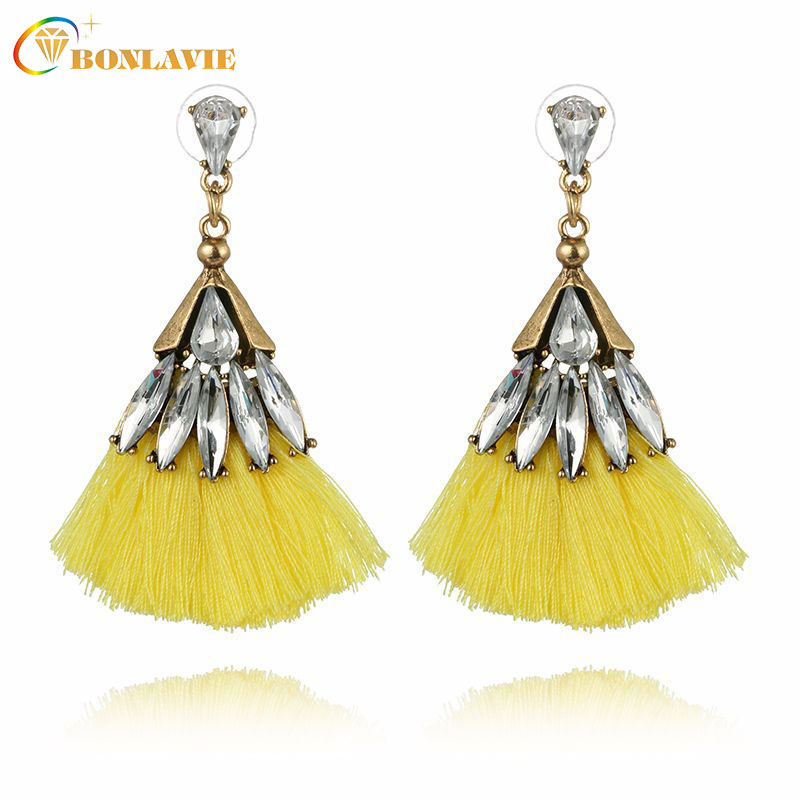 Hot sale Bohemia Crystal Silk Tassel Earrings Blue Red Long Drop tassel Dangle Earrings Women Trendy Jewelery