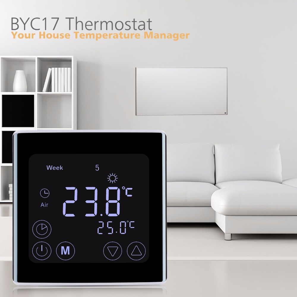 Weekly Programmable Underfloor Heating Thermostat LCD Touch Screen Room Temperature Controller Thermostat White Backlight gadget