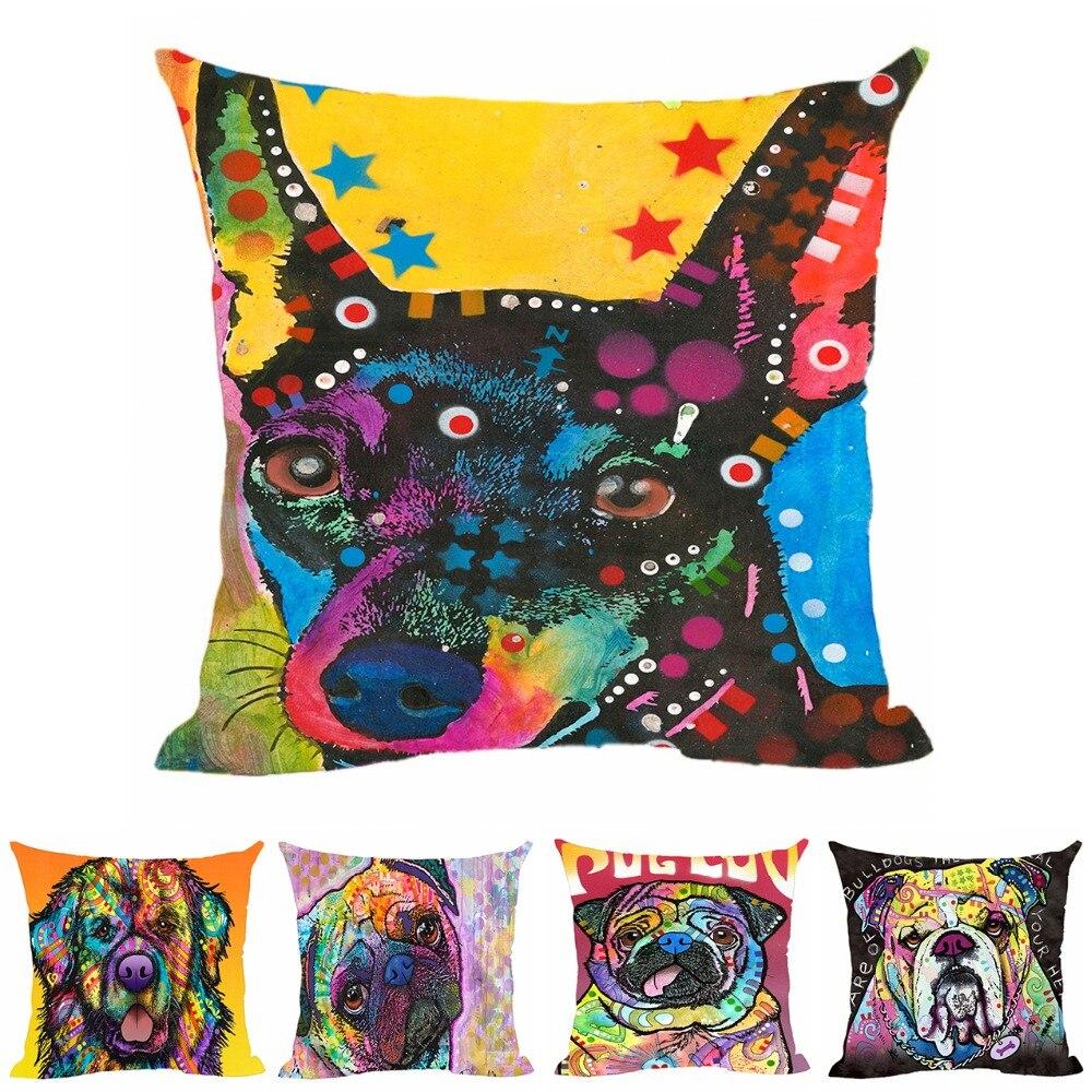 Boston Terrier Hondenkussenhoes Decoratieve kussens Colorul Bull - Thuis textiel