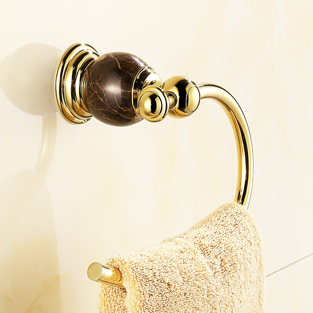 Vintage Gold Marble Polished Copper Towel Rack Towel Ring European Silver Chrome Towel Bar Wall Mount Bathroom Accessories ve3
