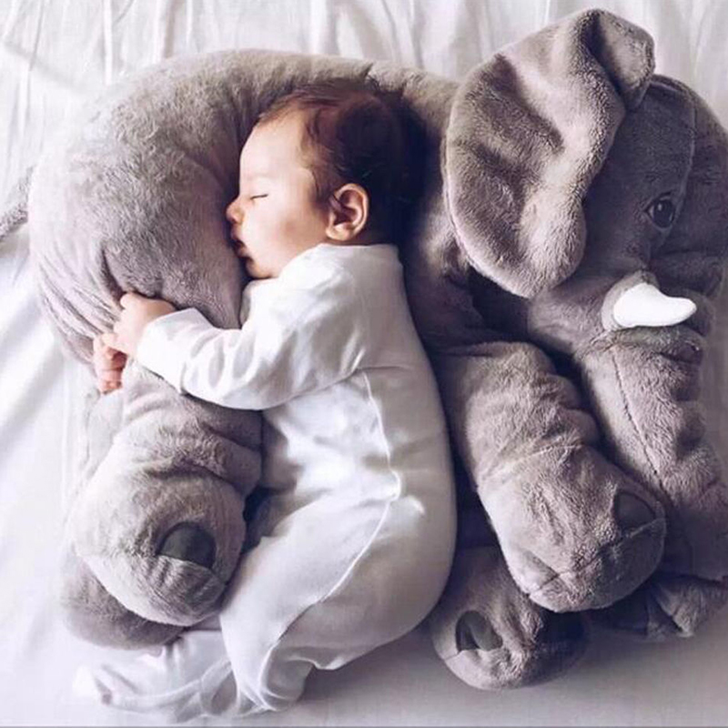 60/33CM Large Stuffed Plush Animal Elephant Toys Kawaii Soft Giant Elephant Sleeping Pillow Kids Toys Baby Calm Cushion Doll D20