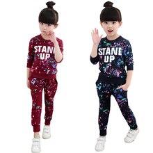 בנות אימוניות 100% כותנה אביב ספורט תלבושות בנות ספורט חליפות גרפיטי מכתב בגדי סטים עבור 5 6 8 10 12 14 שנה