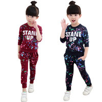 Girls Tracksuits 100 Cotton Spring Sportswear Outfits Girls Sports Suits Graffiti Letter Clothing Sets For 5