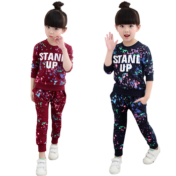Girls Tracksuits 100% Cotton Spring Sportswear Outfits Sports Suits Graffiti Letter Clothing Sets For 5 6  8 10 12 14 Year