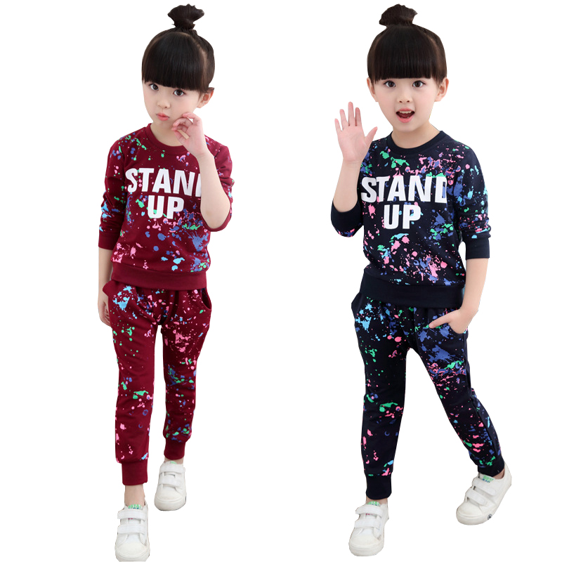 Girls Tracksuits 100% Cotton Spring Sportswear Outfits Girls Sports Suits Graffiti Letter Clothing Sets For 5 6 8 10 12 14 Year