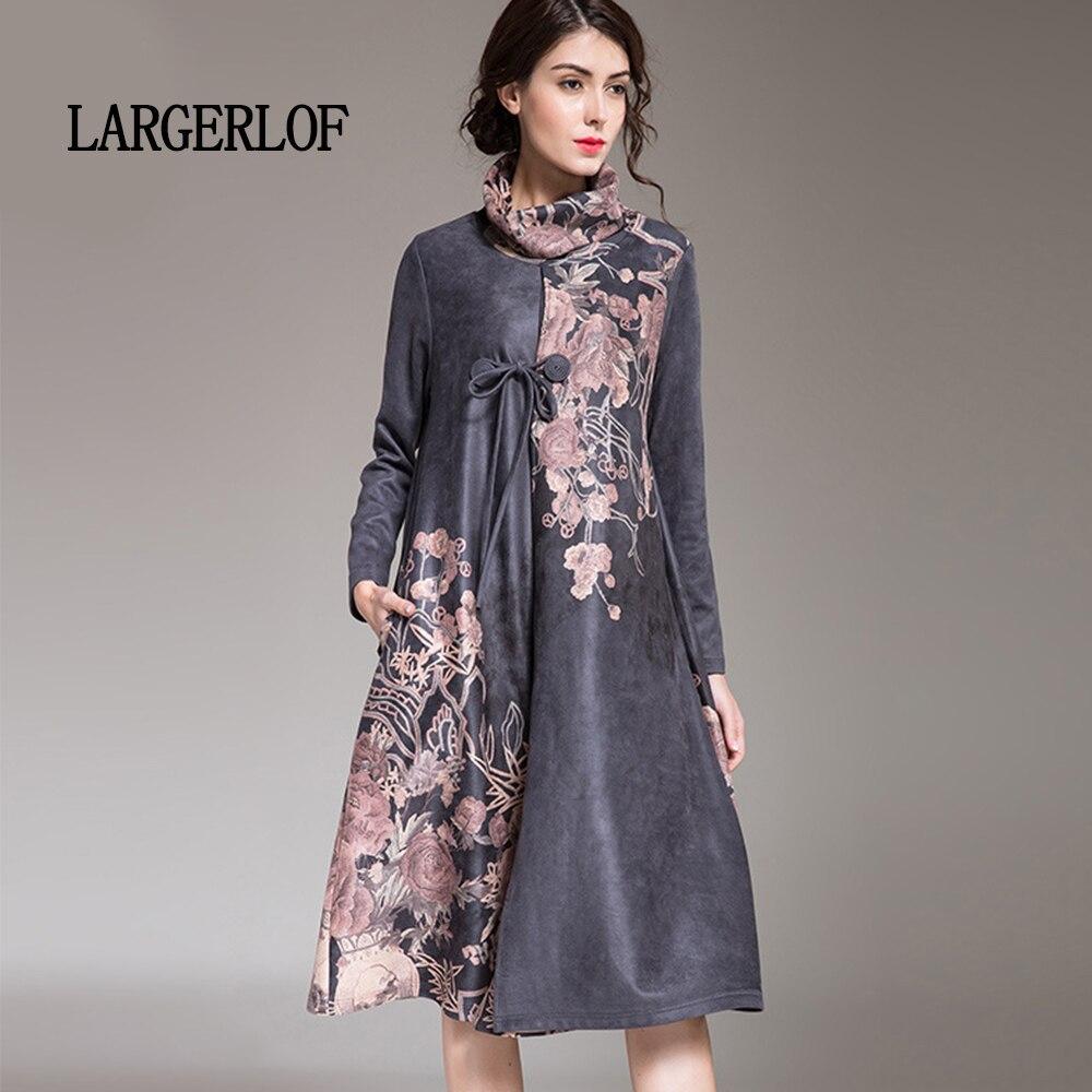 Ds450012 gris Largerlof Carburant Vintage Conduites Impression Élégant Robe Taille Noir De Boucle Femmes Grande Robes 2018 ZqaxOFZ