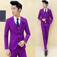 Multi Color Men's Suits Costume Homme Mens Suits Terno Vestidos De Festa Man Suit Wine Red slim fit (jacket + Pants + Vest + Tie