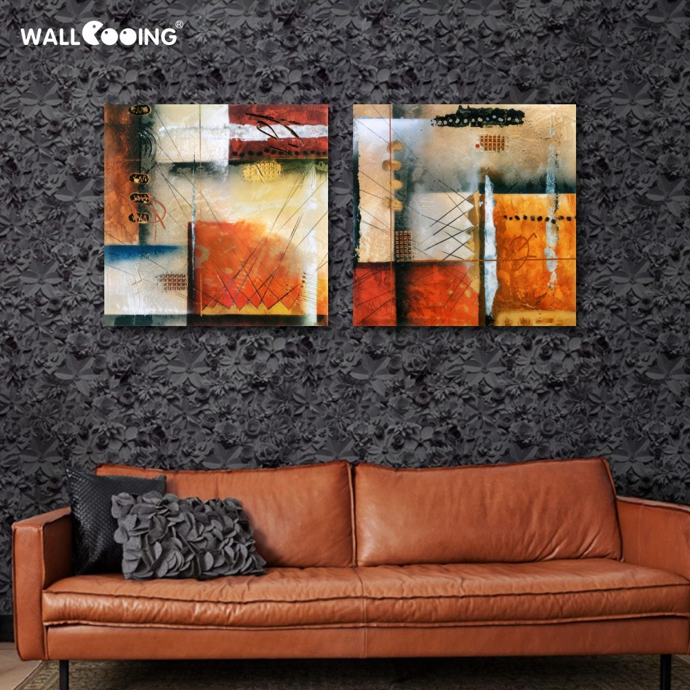 2 pièces/ensemble artiste toile géométrie peintures abstrato quadro peinture modulaire photos retratos da parede para sala de estar