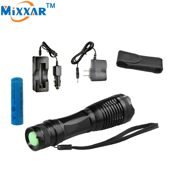 RUzk5 LED flashlight  torch XML-T6 4000Lumens  Focus lamp Zoomable lights + DC/Car Charger  +  1*18650 5000mAh battery + Holster