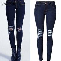 Styl Casual Hole Zgrywanie Slim Myte Ciemnoniebieskie kolana Kobiety ołówek Spodnie Stretch Niski Stan Miękkie Jeansy Spodnie jeansowe Damskie YN280