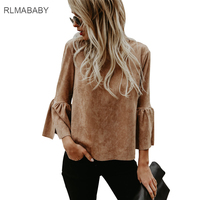 RLMABABY Casual European American Streetwear Suede Blouse Shirt Loose O Neck Flare Sleeve Women Tops Long