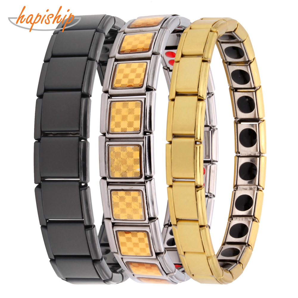 Hapiship Man/Women's Fashion Jewelry Germanium Stainless Steel Energy Bracelet Bangle Lovers Husband Wife Bestfriend Gift Top1