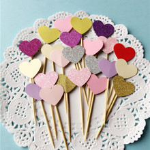 Heart Shaped Cake Toppers 10 pcs/set