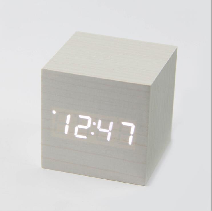 Barn wood clock sveglia digitale Square mini cute led alarm clock Despertador Sound Control minimalist handmade wooden clocks