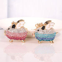 4 Colors 12pc cute rhinestone flying pig keychain key rings jewelry lovely crystal wings pig key chain women bag accessories W31