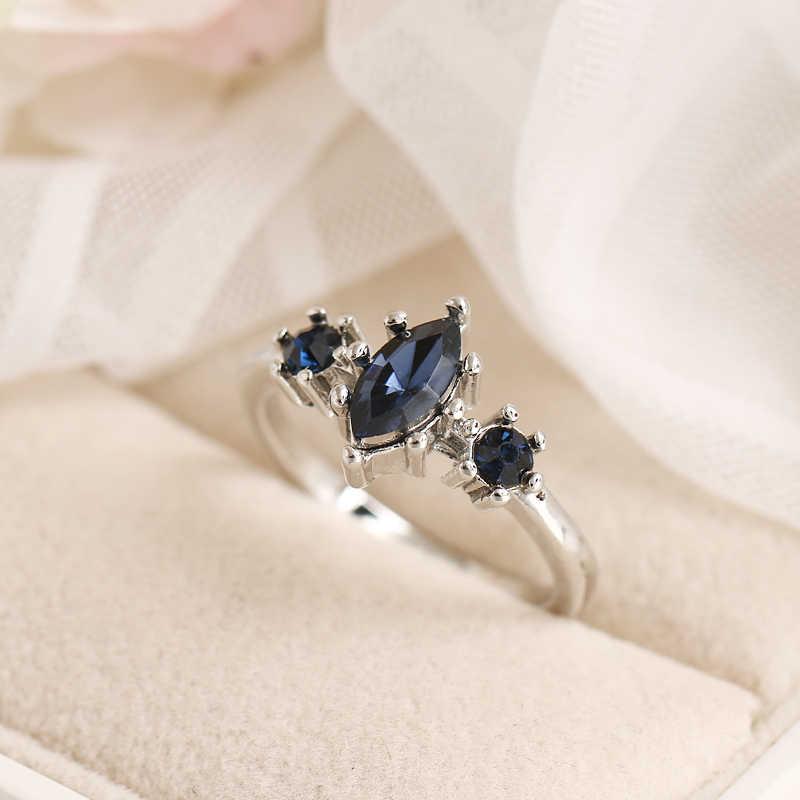RscvonM, tamaño 6-10, anillos para mujer, Zirconia azul, piedra de cristal, oro, banda de boda para mujer, regalo de joyería de compromiso