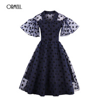 ORMELL 2017 Casual Vintage Dresses Women New Summer Autumn Chiffon Flare Sleeve Dot Printed Vestidos Girl