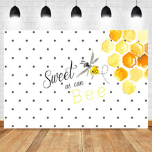 Sweet as Can Bee Backdrop Kids Child Birthday Party Banner Background Photography Dessert Table Photographic Props circus happy birthday backdrop clorful balloon flag photography background kids child birthday party dessert table decorate prop