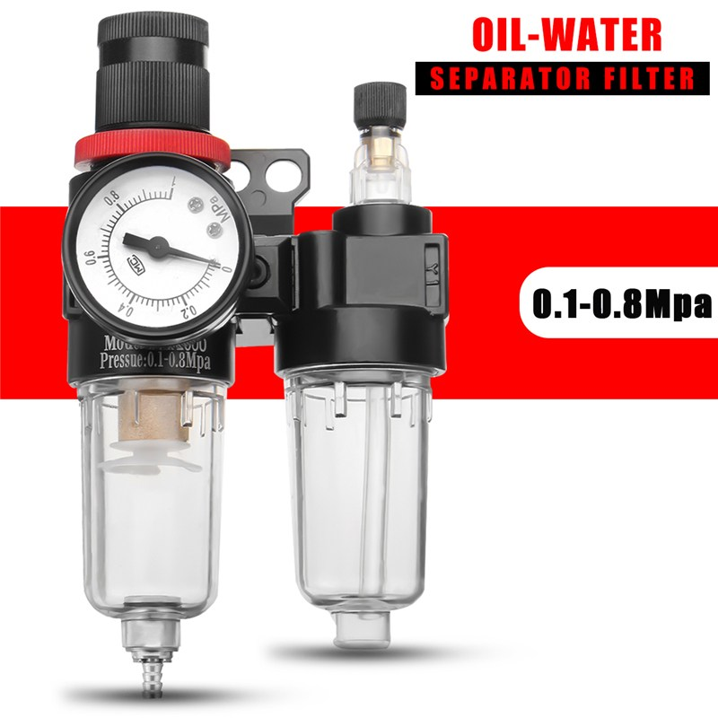 AFC2000 Air Water Pressure Filter Regulator Separator Moisture Trap Compressor Regulator Oil-Water Separator Airbrush Filter afr2000 air pressure regulator water separator trap filter airbrush compressor with fittings