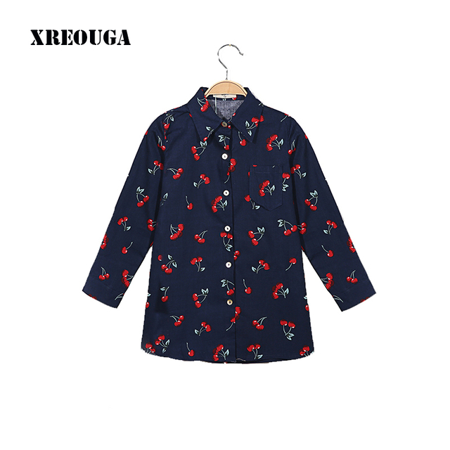 33addab015a Autumn Girls Shirt Dress Kids long Sleeve Cherry Print Turn-down Collar  Buttons Down Cotton Blends Vestido Casual Vintage ZZL12