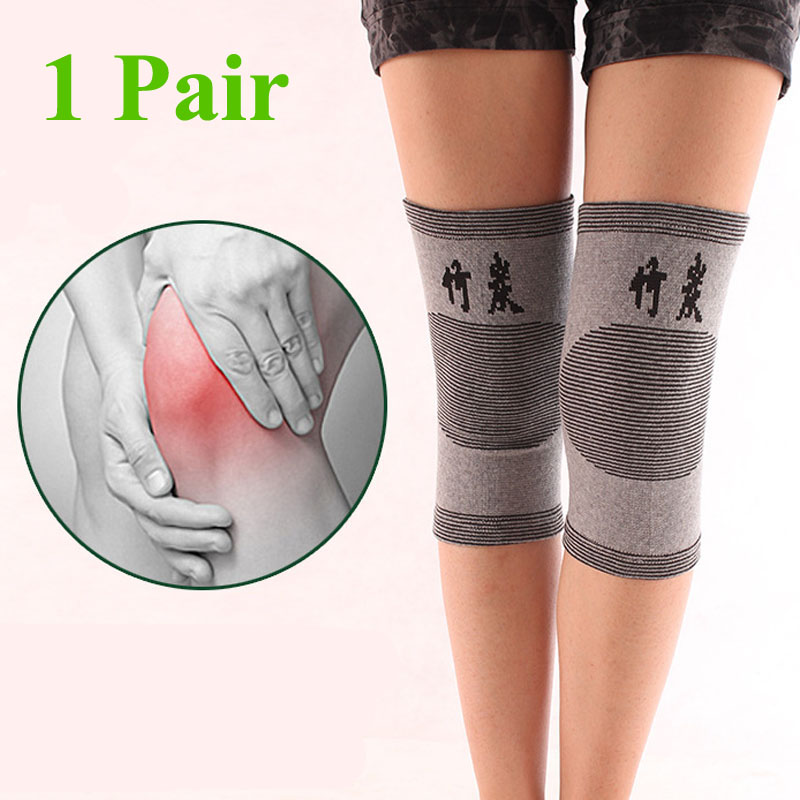 1 Pair Knee Warm Support Brace Leg Arthritis Injury Gym Sleeve Elasticated Bandage knee Pad Charcoal Knitted Elbow kneePad