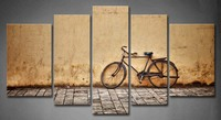Framed Wall Art Pictures Old Bicycle Wall Canvas Print Artwork Architecture Posters With Wooden Frames For Room Decor