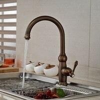 Wholesale And Retail Promotion Antique Brass Swivel Spout Kitchen Faucet Single Handle Hole Vessel Sink Mixer