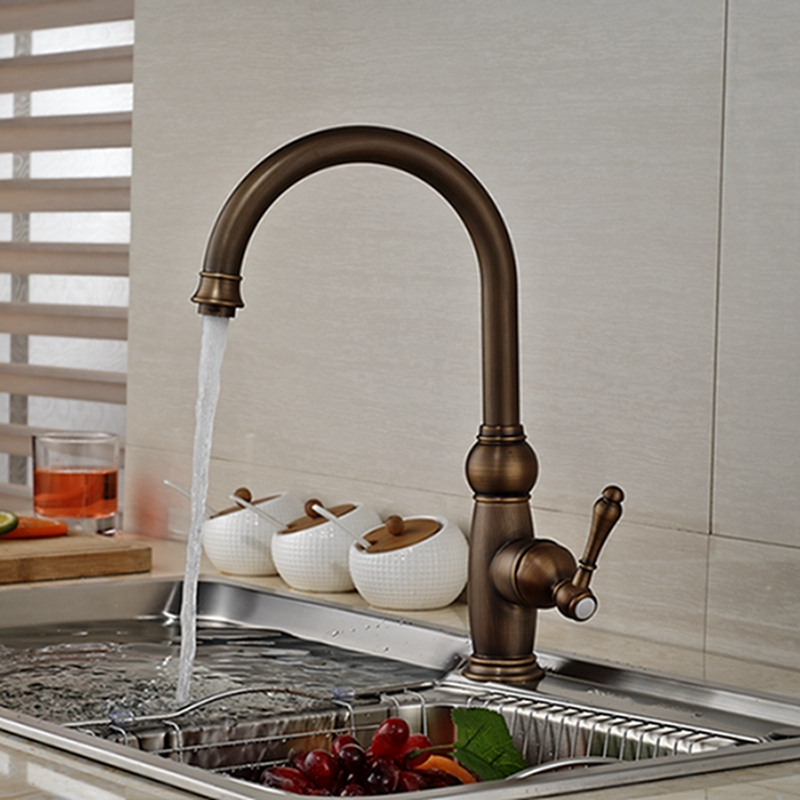 Wholesale And Retail Promotion Antique Brass Swivel Spout Kitchen Faucet Single Handle Hole Vessel Sink Mixer Tap antique brass swivel spout dual cross handles kitchen