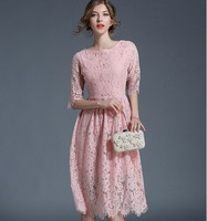 Xulanbaby Spring Autumn Europe New Dresses Office Lady Pink Stitching Lace Elbise Elegant Print Hollow Out