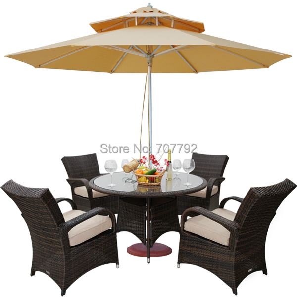 Outdoor Wicker Patio Furniture New Resin Dining Table Set with 4 Chairs - Resin Patio Table Promotion-Shop For Promotional Resin Patio Table
