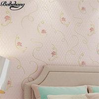 beibehang Romantic warm pastoral paragraph non - woven embossed wallpaper living room bedroom TV background 3D stereo wallpaper