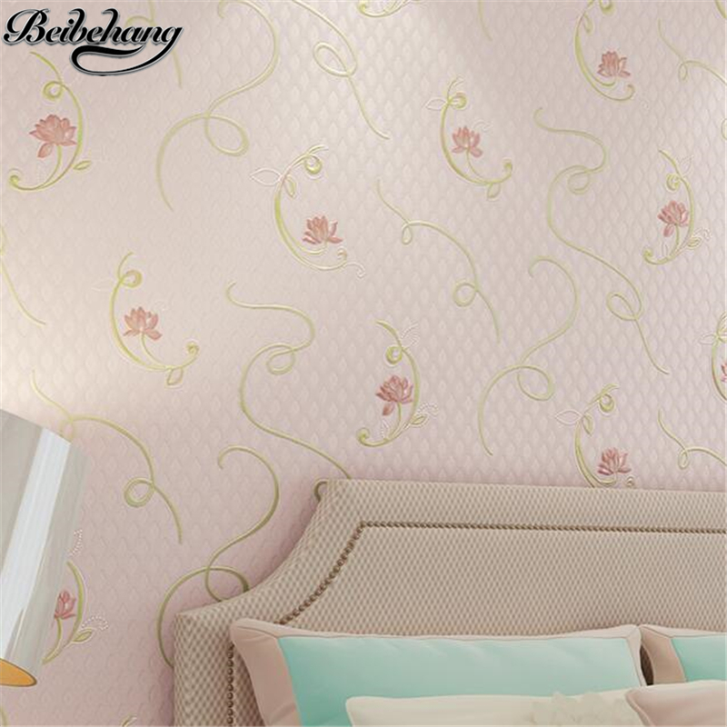 beibehang Romantic warm pastoral paragraph non - woven embossed wallpaper living room bedroom TV background 3D stereo wallpaper non woven bubble butterfly wallpaper design modern pastoral flock 3d circle wall paper for living room background walls 10m roll