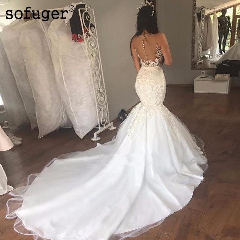 2019 Charming Illusion V Neck Mermaid Appliques Wedding Dresses Tulle Satin Court Train Bridal Wedding Gowns