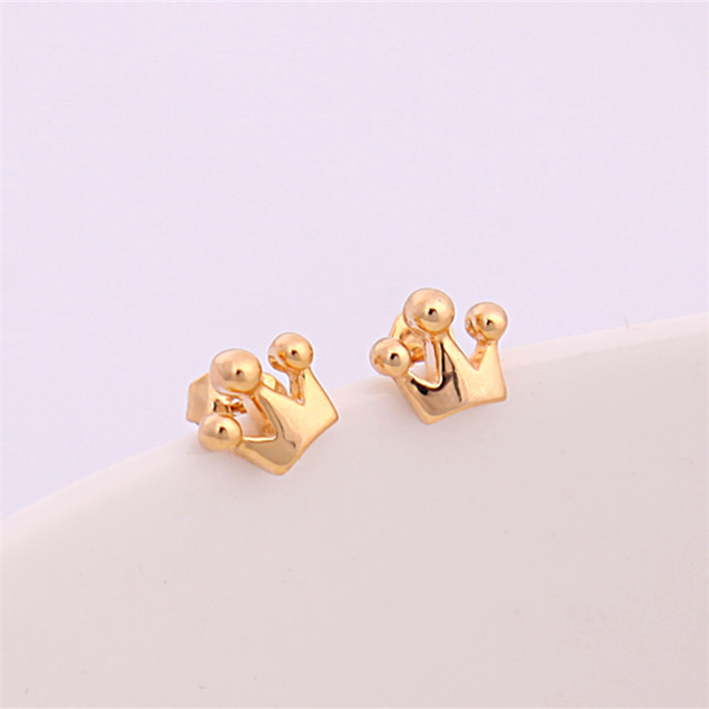 Cute Tiny crown Earring Jewelry Gold/Silver Plated Princess Crown ...