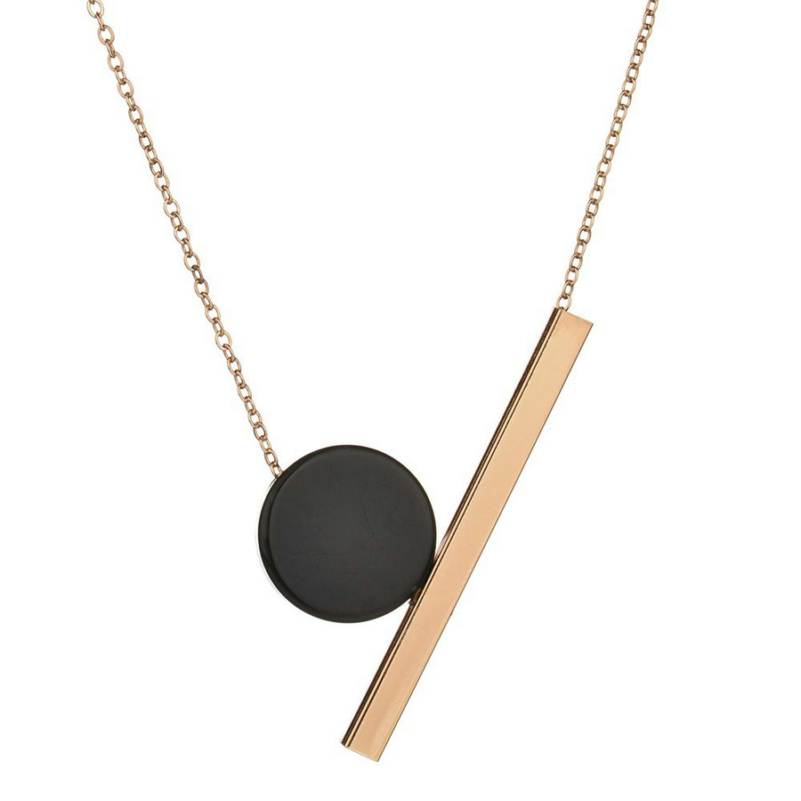 Necklace For Women Charm Gold Color Chain Geometric Pendant Necklace Vintage Wood Bead Alloy Jewelry 2017 collares mujer