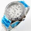 Bliger 40 мм белый циферблат Дата керамический Безель светящийся saphire стекло автоматическое движение Мужские часы