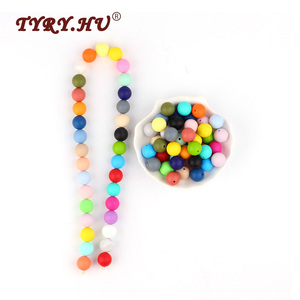 Image 1 - * 500Pcs Baby Silicone Beads BPA Free 15mm Round Beads Baby Teething Toys DIY Pacifier Chain Tools Chewable Baby Teethers