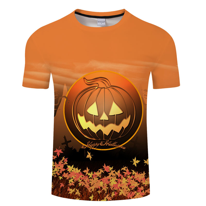 skull jack yellow pumpkin party 3D t shirt Men tshirt Print T-Shirt Tops Casual Tees Short Sleeve Streetwear Halloween gift