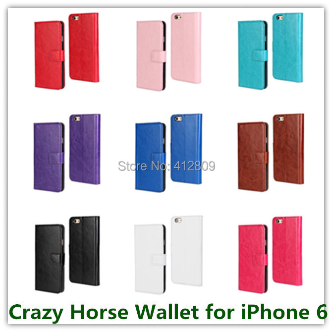 Drop Shipping Black Crazy Horse Pattern PU Leather Stand Wallet Case for Apple iPhone 6 6s with ID Card Holder Cellphone Bag