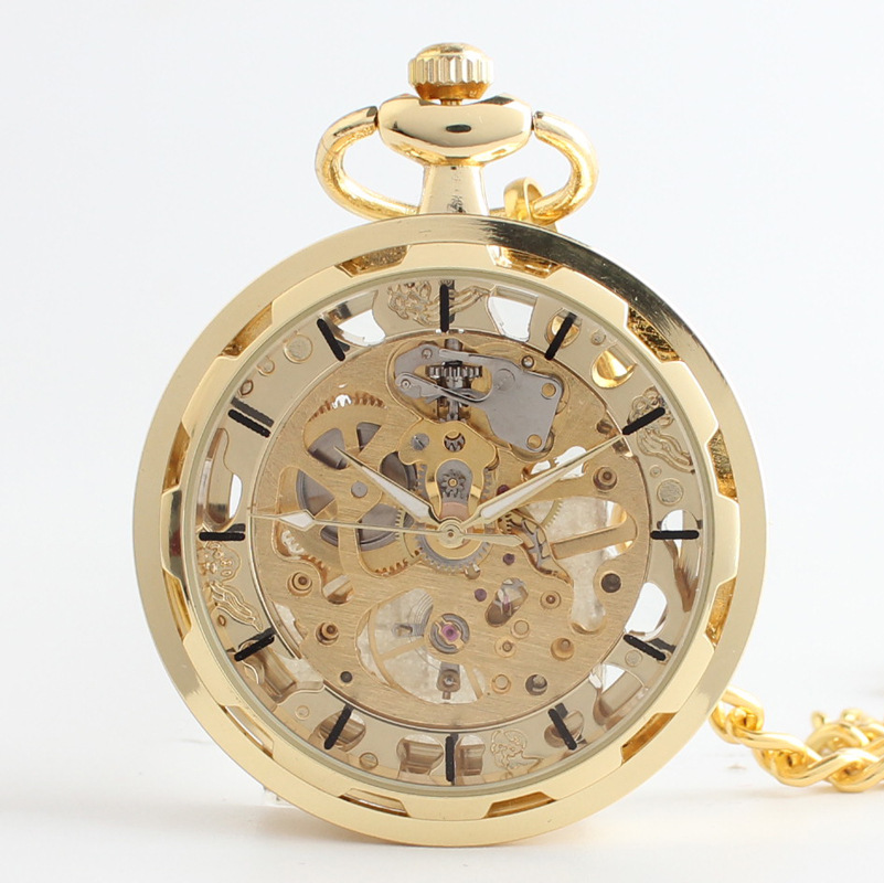 Unique Skeleton Watch Necklace Steampunk Mechanical Fob Pocket Watch Clock Pendant Hand-winding Men Women Chain Gift