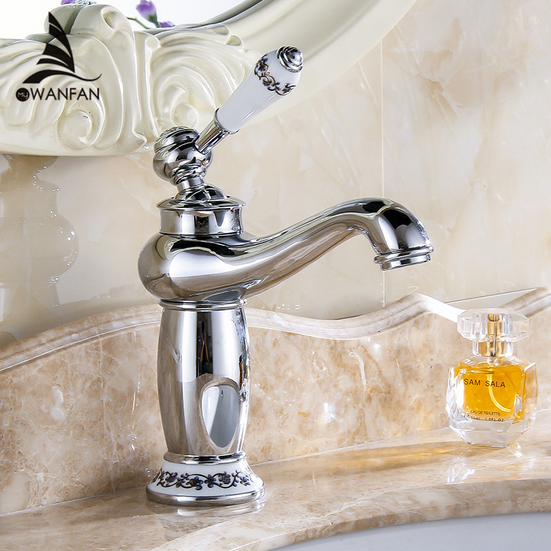 Basin Faucets Chrome Bathroom Faucet Ceramic Base Single Hole Brass Basin Sink Faucet Single Handle Water